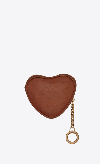 SAINT LAURENT Key Ring Woman LOVE key holder case in vintage cognac leather b_V4