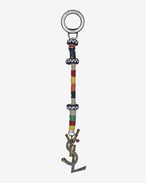 SAINT LAURENT Key Ring D Berber logo key holder in silver-toned metal and leather, with and multicolored cord f