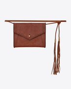 SAINT LAURENT Belt Bags D ENVELOPE belt bag in cognac leather f
