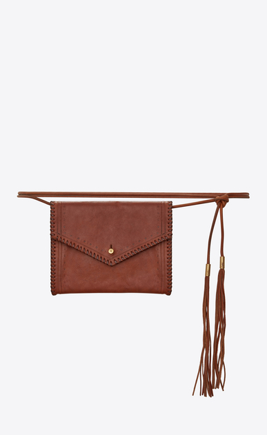 SAINT LAURENT Belt Bags D ENVELOPE belt bag in cognac leather a_V4