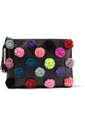 LOEFFLER RANDALL Pompom-embellished leather pouch