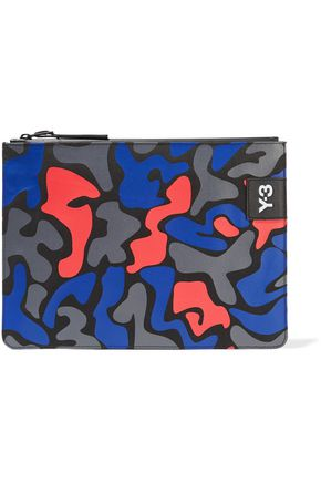 Y-3 + adidas Originals printed twill and leather pouch