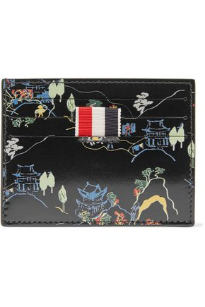 THOM BROWNE Printed leather cardholder