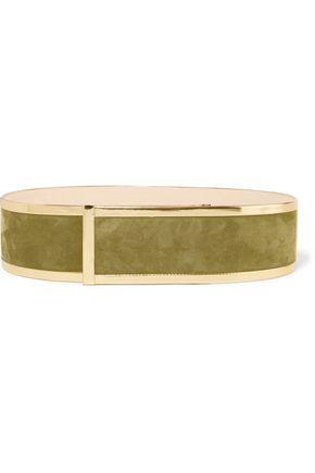 BALMAIN Metallic leather-trimmed suede waist belt