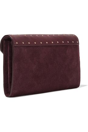 MAJE Slystud suede and studded leather wallet