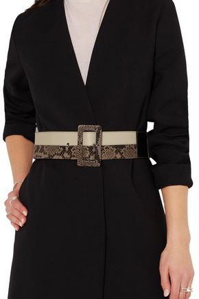 MARNI Paneled leather and python waist belt