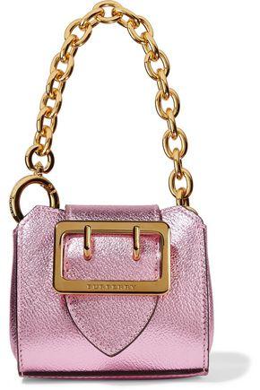 BURBERRY Metallic textured-leather keychain