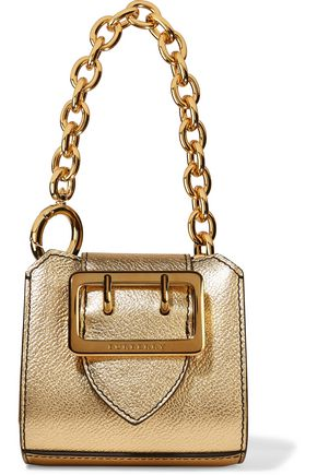 BURBERRY Metallic textured-leather keychain