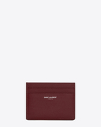 SAINT LAURENT Saint Laurent Paris SLG U SAINT LAURENT PARIS card case in dark red textured leather f