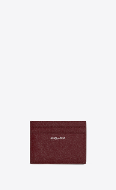 SAINT LAURENT Saint Laurent Paris SLG Man SAINT LAURENT PARIS card case in dark red textured leather a_V4