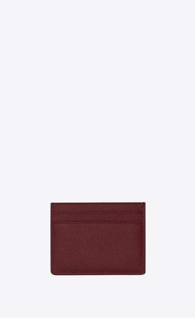 SAINT LAURENT Saint Laurent Paris SLG U SAINT LAURENT PARIS card case in dark red textured leather b_V4