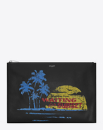 SAINT LAURENT SLP animation U WAITING FOR SUNSET document holder in black leather f