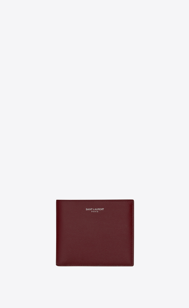 SAINT LAURENT Saint Laurent Paris SLG Homme Portefeuille EAST/WEST SAINT LAURENT PARIS en cuir texturé grain-de-poudre rouge foncé a_V4