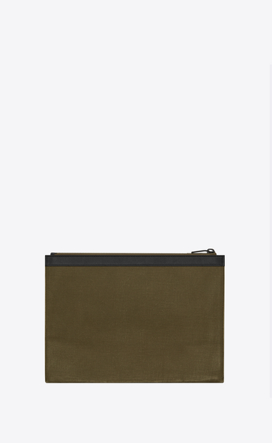 SAINT LAURENT SLP animation U ARMY SAINT LAURENT zipped tablet holder in khaki gabardine b_V4