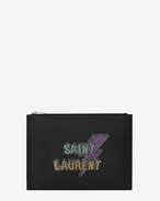 SAINT LAURENT SLP animation U SAINT LAURENT ECLAIR studded tablet holder in black leather f