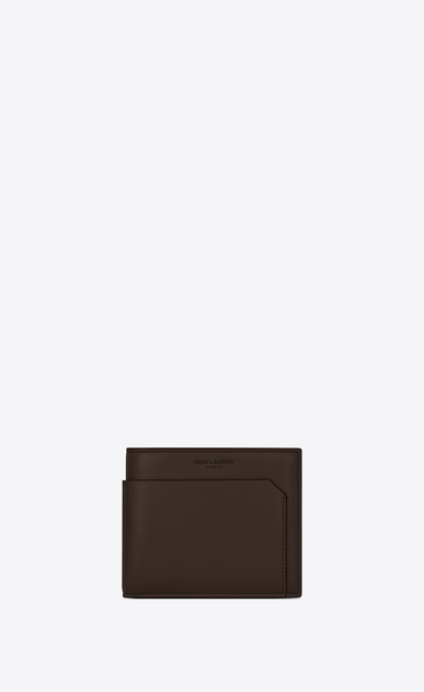 SAINT LAURENT Fragments Small Leather Goods U FRAGMENTS EAST/WEST wallet in chocolate leather with matte black edges a_V4