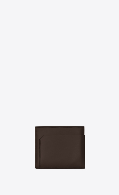 SAINT LAURENT Fragments Small Leather Goods U FRAGMENTS EAST/WEST wallet in chocolate leather with matte black edges b_V4