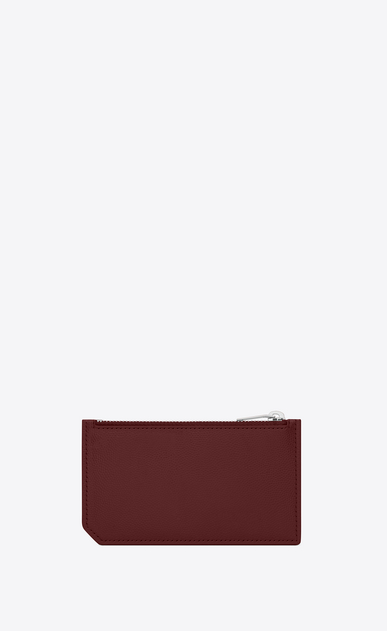 SAINT LAURENT Saint Laurent Paris SLG U classic saint laurent paris 5 fragments zip pouch in dark red textured leather b_V4