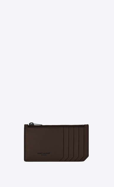 SAINT LAURENT Saint Laurent Paris SLG U Porta carte FIVE FRAGMENTS con zip e bordi opachi in pelle color cioccolato a_V4