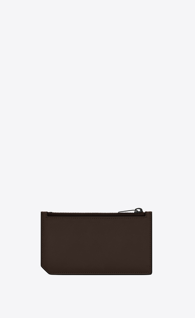 SAINT LAURENT Saint Laurent Paris SLG U Porta carte FIVE FRAGMENTS con zip e bordi opachi in pelle color cioccolato b_V4