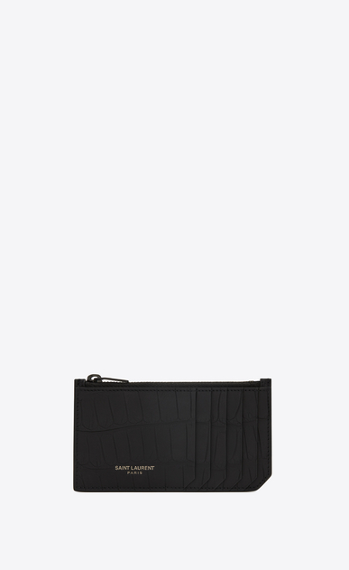 SAINT LAURENT Saint Laurent Paris SLG E fragments zip pouch in black alligator leather a_V4
