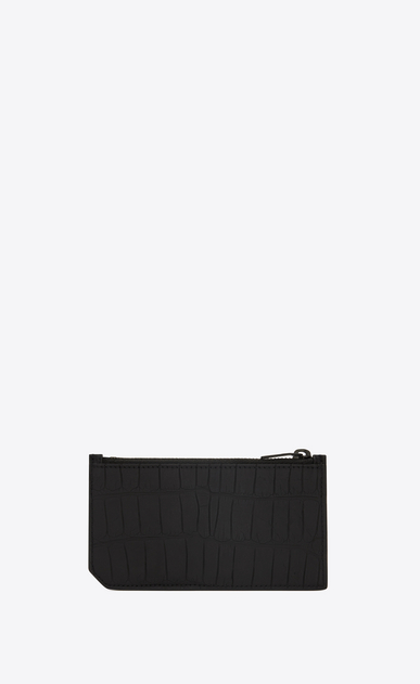 SAINT LAURENT Saint Laurent Paris SLG E fragments zip pouch in black alligator leather b_V4