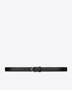 SAINT LAURENT Skinny Belts U TRIANGLE buckle belt in black crocodile-embossed leather f