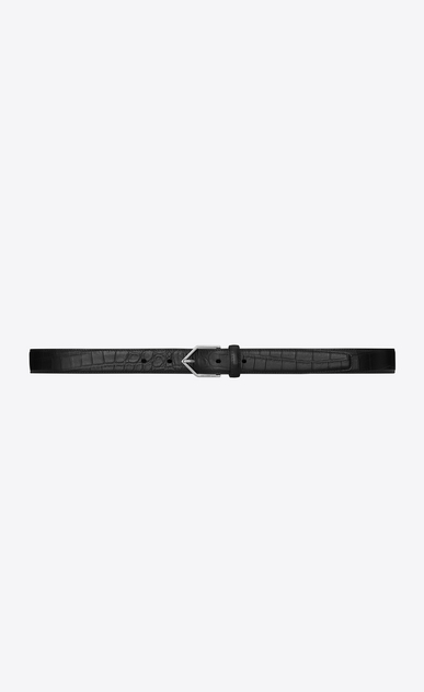 SAINT LAURENT Skinny Belts Man TRIANGLE buckle belt in black crocodile-embossed leather a_V4