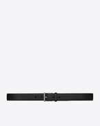 SAINT LAURENT Classic Belts U MONOGRAMME belt with mechanical link in black grained leather f