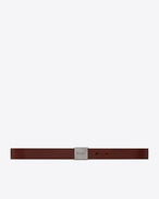 SAINT LAURENT Classic Belts U BELLECHASSE SAINT LAURENT buckle belt in brown leather f