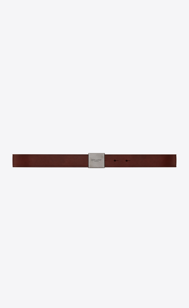 SAINT LAURENT Classic Belts U BELLECHASSE SAINT LAURENT buckle belt in brown leather a_V4