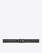 SAINT LAURENT Classic Belts U MOTORCYCLE ID buckle belt in black and beige cotton f