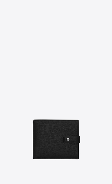 SAINT LAURENT Sac de jour SLG Man EAST/WEST SAC DE JOUR wallet and coin holder in black grained leather a_V4