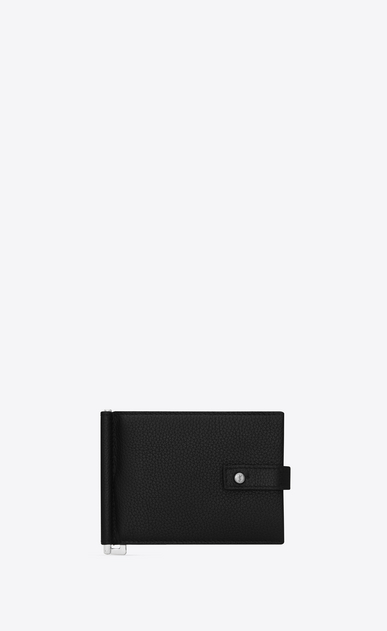 SAINT LAURENT Sac de jour SLG U SAC DE JOUR wallet with money clip in black grained leather a_V4