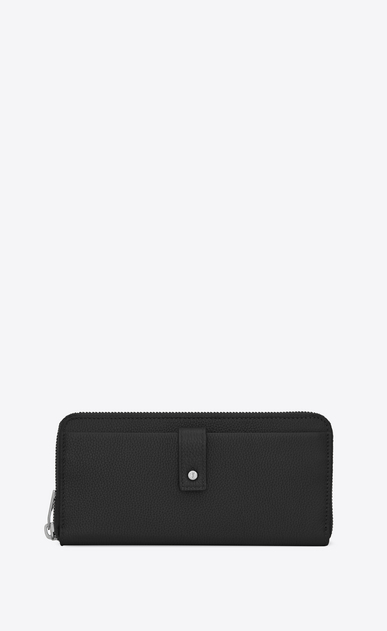 SAINT LAURENT Sac de jour SLG Man Sac de Jour zippered wallet in black grained leather a_V4