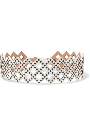ALAÏA Studded laser-cut leather belt