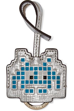 ANYA HINDMARCH Space Invader metallic textured-leather keychain