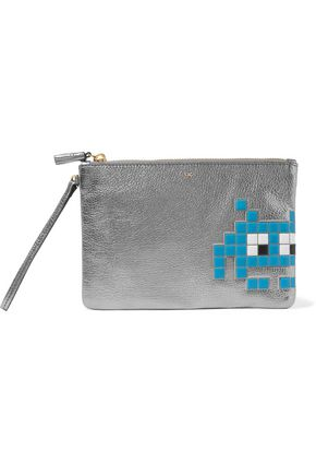 ANYA HINDMARCH Space Invader metallic textured-leather pouch