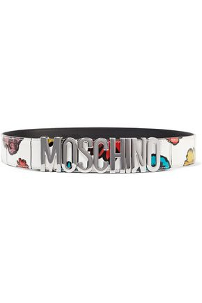 MOSCHINO Printed patent-leather belt