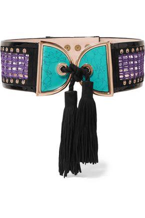 BALMAIN Embellished crochet and suede waist belt