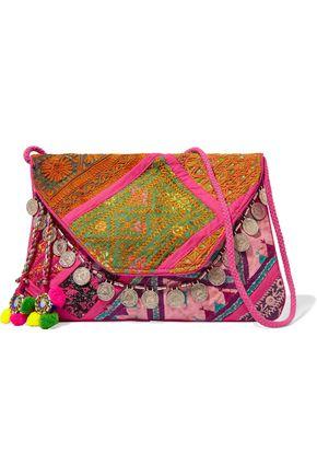 ANTIK BATIK Embellished embroidered cotton wallet