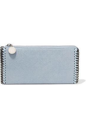 STELLA McCARTNEY Chain-trimmed faux textured-leather wallet