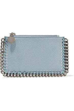 STELLA McCARTNEY Chain-trimmed faux brushed-leather cardholder
