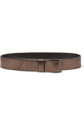 LANVIN Metallic cracked-leather belt