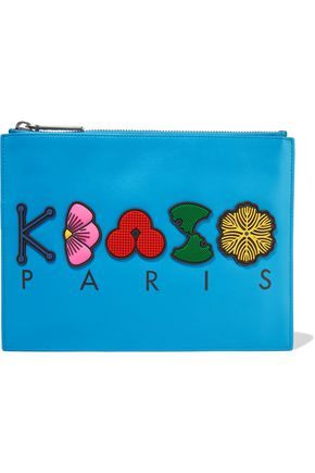 KENZO Appliquéd printed leather pouch