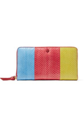 TORY BURCH Color-block snake-effect leather wallet