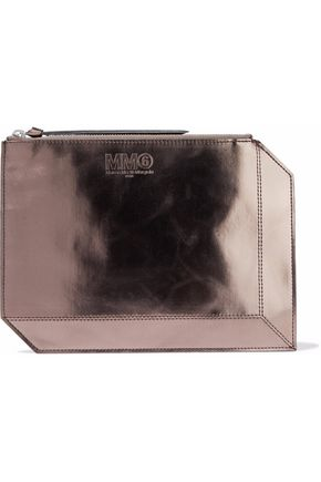 MM6 by MAISON MARGIELA Metallic faux patent-leather pouch