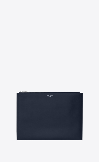 SAINT LAURENT Saint Laurent Paris SLG Uomo saint laurent paris zipped tablet sleeve in navy blue a texture textured leather a_V4