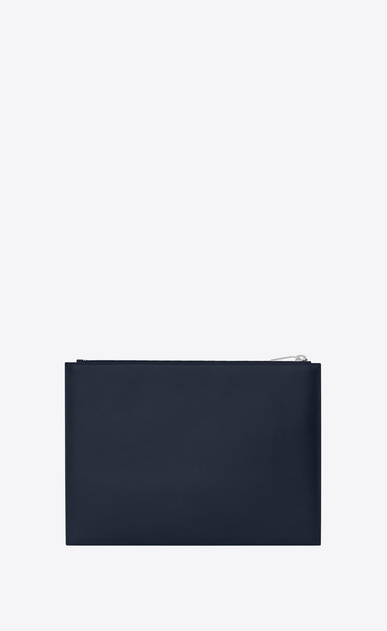 SAINT LAURENT Saint Laurent Paris SLG Man saint laurent paris zipped tablet sleeve in navy blue textured leather b_V4