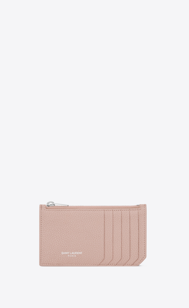 SAINT LAURENT Saint Laurent Paris SLG Woman fragments zip pouch in washed pink grained leather a_V4